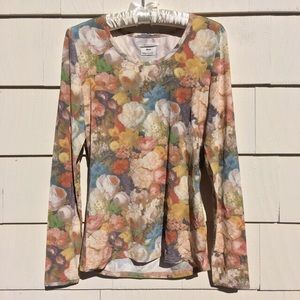 New Anna Sui x UO Floral Mesh Longsleeve Top